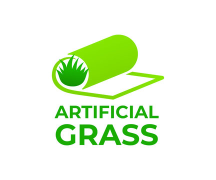 Artificial grass or turf in roll, logo design. Carpeting artificial grass and landscaping, vector design and illustration