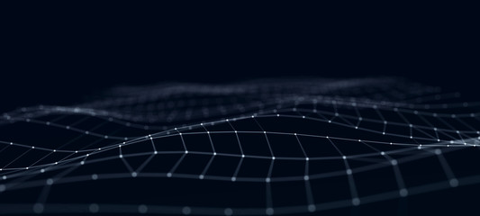 Futuristic abstract mesh. Wave with the connection of dots and lines. 3D rendering.
