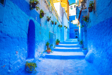 Canvas Prints Morocco Chefchaouen, a city with blue painted houses and narrow, beautiful, blue streets, Morocco, Africa