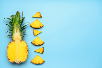 Fresh cut pineapple on color background