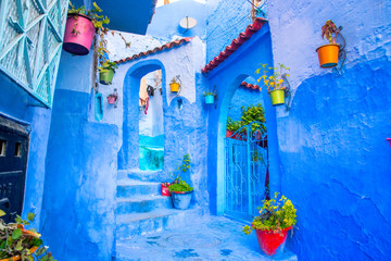 Foto op Canvas Marokko Chefchaouen, a city with blue painted houses and narrow, beautiful, blue streets, Morocco, Africa