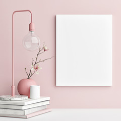 Mock up poster with pink background wall