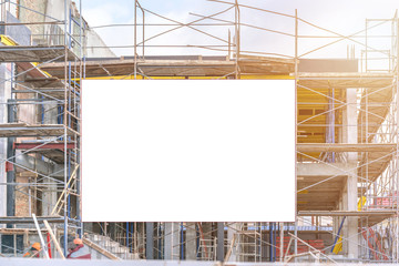 construction site with scaffold and building mock-up