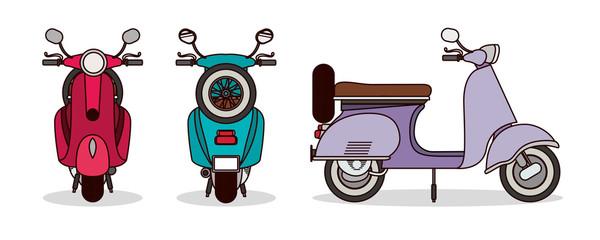 scooter motorcycles set vector design