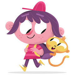 Girl and monkey best friends - friendship cute illustration cartoon vintage