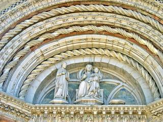 Italy, Marche, Camerino, Saint Venanzio church portal decoration.