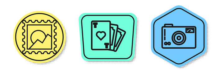 Set line Picture landscape, Playing card with heart symbol and Photo camera. Colored shapes. Vector