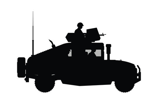 Military armor vehicle silhouette vector