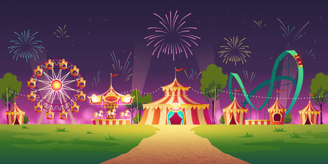 Fototapeten Aubergine lila Carnival funfair, amusement park with circus tent, attractions and fireworks in sky. Vector cartoon illustration of night summer landscape with roller coaster, carousel and ferris wheel
