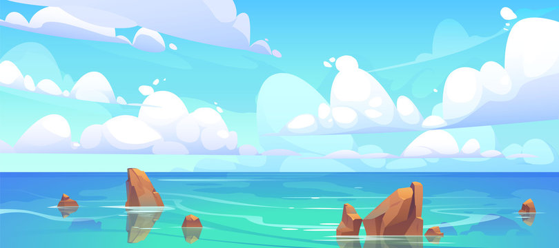 Sea landscape with stones in water and clouds in blue sky. Vector cartoon illustration of coastal ocean with rocks. Seascape of rocky shore on island