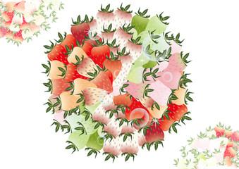 カラフルないちご一面に広がるいちごの丸いオブジェのイラスト長方形背景素材