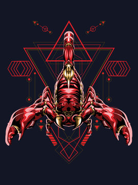 zodiac vector illustration red scorpion king with sacred geometry pattren