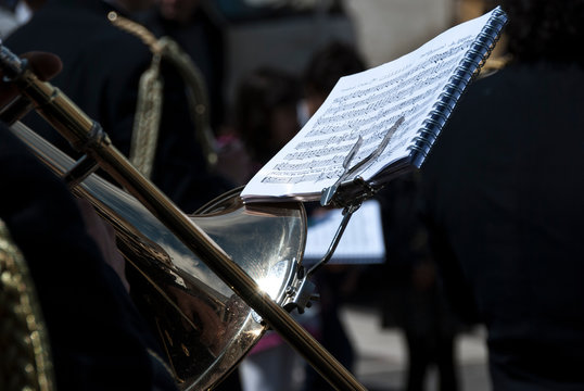 Close-Up Of Musical Instrument With Notes