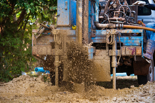 ground drilling water machine on old truck drilling in the ground for water