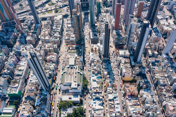 Fototapete - aerial view of cityscape of kowloon, center of Hong Kong, asia