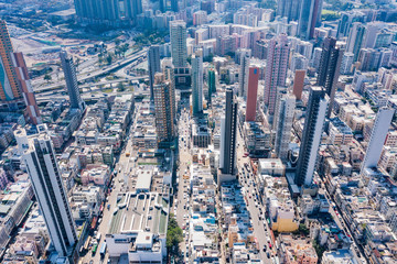 Fotomurales - aerial view of cityscape of kowloon, center of Hong Kong, asia