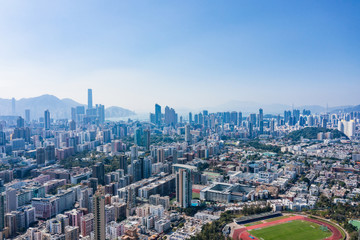 Wall Mural - aerial view of cityscape of kowloon, center of Hong Kong, asia