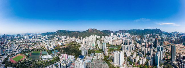 Fototapete - panorama aerial view of cityscape of kowloon, center of Hong Kong, aisa