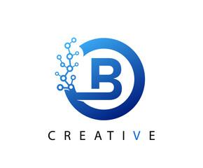 Circle B Letter Digital Network , abstract blue B technology logo design.