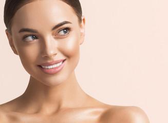 Healthy teeth smile woman beauty face natural make up