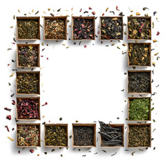 Large assortment of teas in the form of a frame on a white background. The view from the top