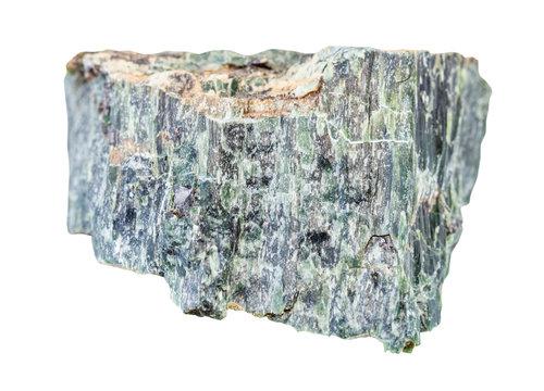 rough Chrysotile asbestos rock isolated on white