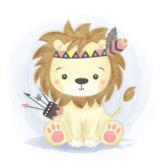 adorable lion illustration for personal project,background, invitation, wallpaper and many more