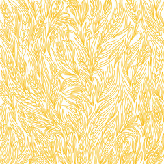 Cereal bread pattern background. Ears of wheat wrapper. Agriculture straw. Orange contour line vector.