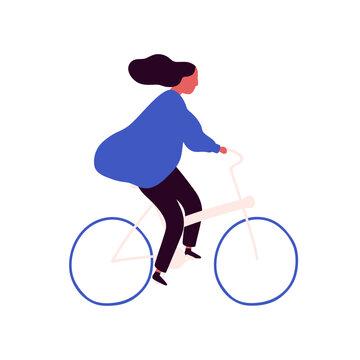 Carefree cartoon woman bicyclist with waving hair vector flat illustration