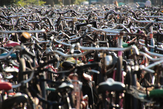 Full Frame Shot Of Bicycles Parked In Parking Lot
