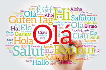 OLA (Hello Greeting in Portuguese) word cloud in different languages of the world with marker