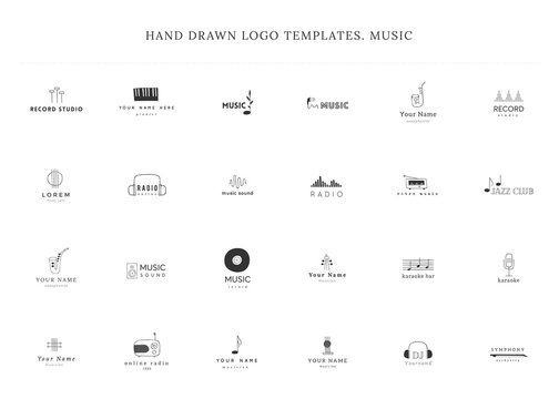 Set of hand drawn vector logo templates. Music and sound record elements.