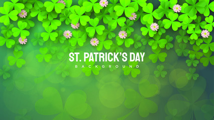 Background of the day of St. Patrick with illustrations of sprinkled green leaves. Wall mural