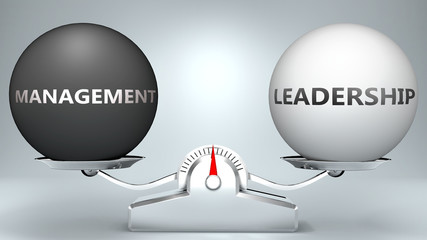 Management and leadership in balance - pictured as a scale and words Management, leadership - to symbolize desired harmony between Management and leadership in life, 3d illustration