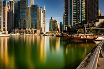 Dubai/UAEmirates - jan 18, 2020: promenade view of Dubai Marina in the north east direction with a view of the numerous buildings that are more than 100 meters high
