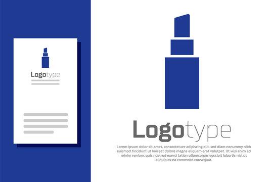 Blue Lipstick icon isolated on white background. Logo design template element. Vector Illustration