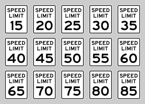 USA speed limit road sign set fro 15 to 85 mph