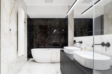 Elegant bathroom in marble