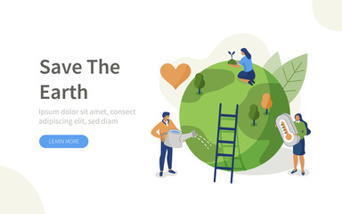 Fototapeta People Characters trying to Save Planet Earth.Woman and Man Planting and Watering Trees, Measuring Planet Temperature. Global Warming and Climate Change Concept. Flat Isometric Vector Illustration. obraz