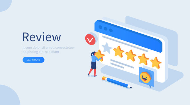 People Character Giving Five Star Feedback. Client Choosing Satisfaction Rating and Leaving Positive Review. Customer Service and User Experience Concept. Flat Isometric Vector Illustration.