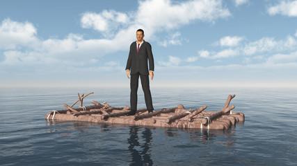 Geschäftsmann auf einem Floß im offenen Meer