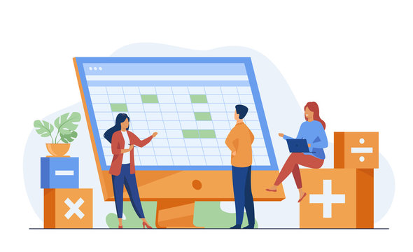 Colleagues discussing accounting statistics report using software vector illustration. Bookkeeping and audit for annual and financial reporting concept for business presentation slides