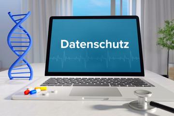 Datenschutz – Medizin/Gesundheit. Computer im Büro mit Begriff auf dem Bildschirm. Arzt/Gesundheitswesen