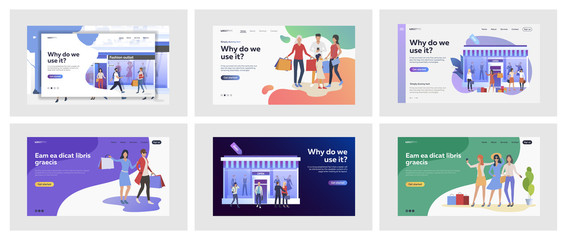 Set of people shopping at city. Flat vector illustrations of men and women going to stores together. Buying and using discounts concept for banner, website design or landing web page
