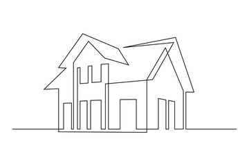 Family house in continuous line art drawing style. Suburban home minimalist black linear sketch isolated on white background. Vector illustration