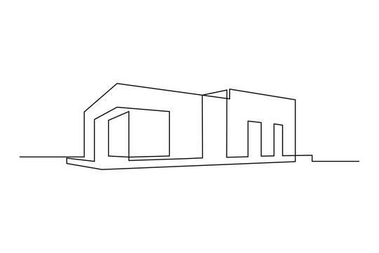 Modern flat roof house or commercial building in continuous line art drawing style. Minimalist black linear sketch isolated on white background. Vector illustration