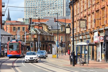 SHEFFIELD, UK - JULY 10, 2016: People walk in Sheffield, Yorkshire, UK. Sheffield is the 6th largest city in the UK with population of 529,541.