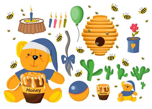Sticker set Winnie the Pooh. Toys isolated on a white background. Plush witch. Flower in a pot. Elements for baby cards. Fairy-tale heroes. Book characters..