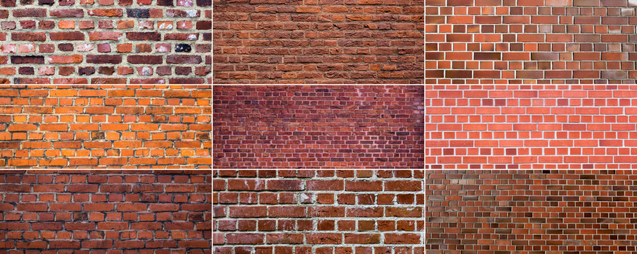 old red brick wall backgrounds set - texture of brickwall