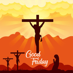 Good Friday & Easter day. Vector illustration of Jesus Christ's crucifixion and Resurrection.